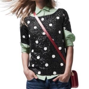 J. Crew • Black White Sequin Polka Dot Blouse